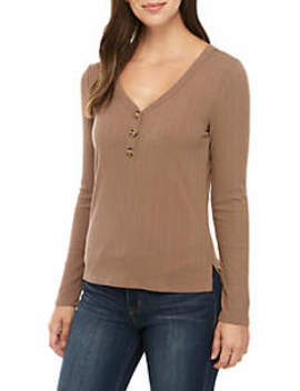 Long Sleeve Rib Knit Button Front Top by Pink Rose