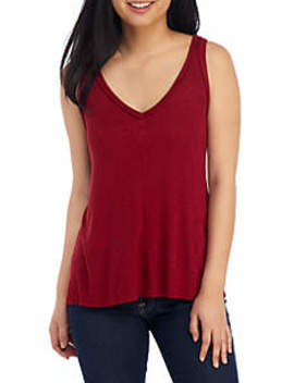 Sleeveless V Neck Rib Knit Tank by Eyeshadow