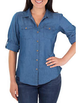 Knit To Fit Denim Top by Kim Rogers