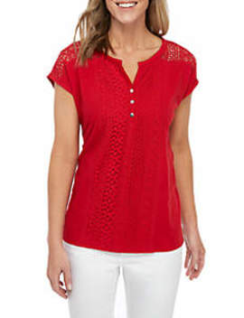 Short Sleeve Lace Front Henley Top by Kim Rogers