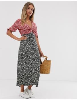 Asos Design Mixed Floral Print Twist Front Midi Tea Dress by Asos Design