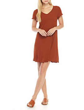 Short Sleeve Ribbed Swing Dress by Love, Fire