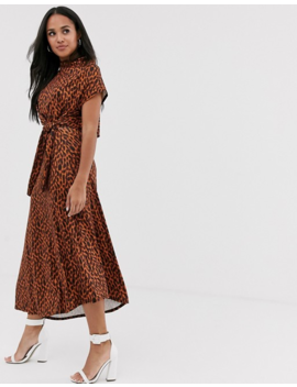 Asos Design (Voted By You) Cowl Neck Tie Waist Midi Dress In Tortoiseshell Print by Asos Design
