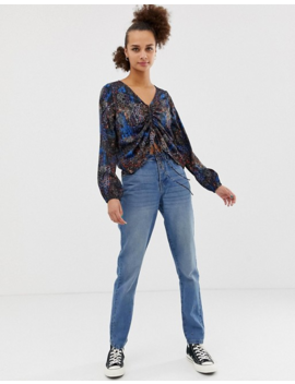 Noisy May Mixed Animal Print Ruched Front Blouse by Noisy May