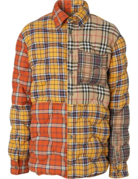 Contrast Check Cotton Flannel Puffer Overshirt by Burberry