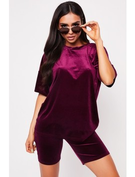Mona Burgundy Velour Oversized Shorts Co Ord by Misspap