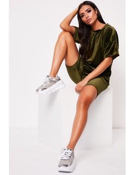 Mona Khaki Velour Oversized Shorts Co Ord by Misspap