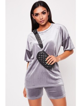 Mona Grey Velour Oversized Shorts Co Ord by Misspap