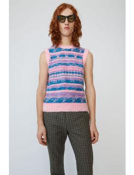 Striped Jacquard Vest Bright Pink by Acne Studios