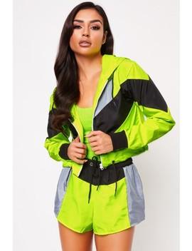 Laila Neon Lime Colour Block Shorts Co Ord by Misspap
