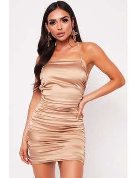 simone-champagne-satin-ruched-mini-dress by misspap