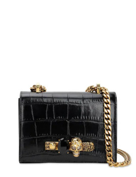 Sm Jeweled Croc Embossed Satchel Bag by Alexander Mcqueen