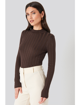 Ribbed High Neck Knitted Sweater Brown by Na Kd