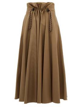 Ayeme Paperbag Waist Cotton Twill Midi Skirt by Golden Goose