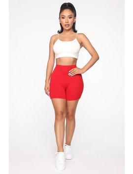Comfort Me Biker Shorts   Red by Fashion Nova
