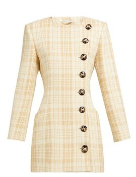 Buttoned Wool Blend Tweed Mini Dress by Alessandra Rich