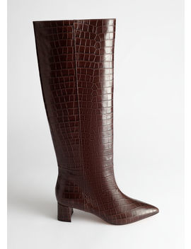 Croc Leather Knee High Boots by & Other Stories