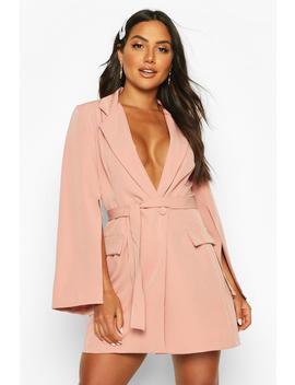Split Sleeve Double Breasted Belted Blazer Dress by Boohoo