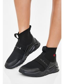 Black Rally Sock Sneakers by Champion