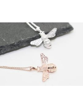 Bee Necklace, Bee Jewelry, Rose Gold Bee, Sterling Silver Bee, Honey Bee Necklace, Bee Pendant, Bee Charm, Bumble Bee, Manchester Bee by Etsy