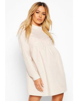 Petite High Neck Long Sleeve Smock Dress by Boohoo