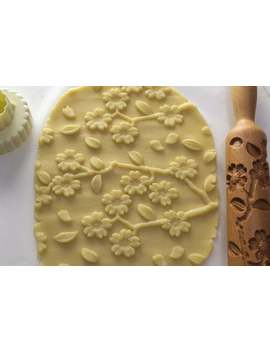 Sakura, Wooden Carved Rolling Pin, Embossing Roller For Cookies, Engraved Rolling Pin, Kitchen Appliances by Etsy