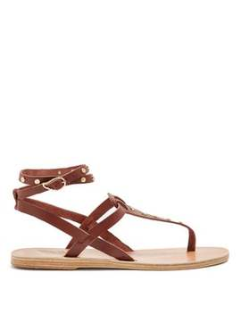 Estia Nails Embellished Leather Sandals by Ancient Greek Sandals