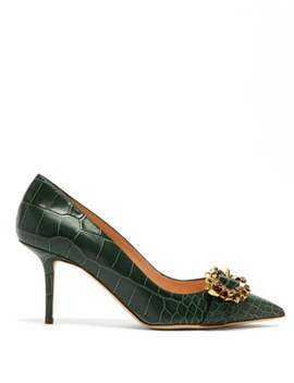 Solitaire Point Toe Crocodile Effect Leather Pumps by Rupert Sanderson