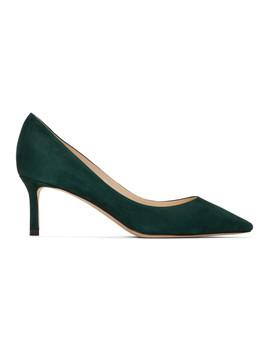 Green Suede Romy Heels by Jimmy Choo