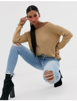 Missguided Off The Shoulder Jumper In Sand by Missguided