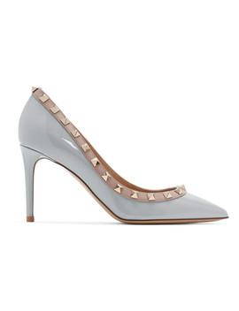 Grey Valentino Garavani Patent Rockstud Heels by Valentino