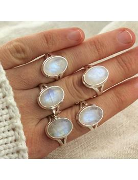 Silver Moonstone Ring. Rainbow Moonstone Ring Sterling Silver. Simple Ring. Silver Rings For Women. Silver Ring With Stone. White Gemstone. by Etsy