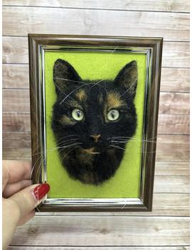 Cat Portrait Sculpture In Frame. Needle Felted Cat. Felt Kitty. Realistic Cat. Shadow Box Frame Pet Replica. Made To Order. by Etsy