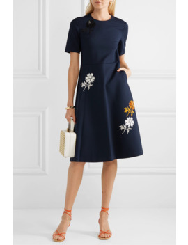 Sequined Embroidered Stretch Ponte Dress by Tory Burch