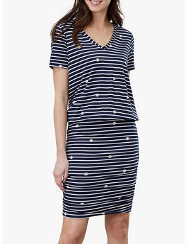 Joules Candice Cotton Striped Daisy Dress, Navy by Joules