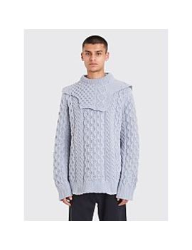Raf Simons Aran Knit Patched On Collar Sweater Blue by Très Bien