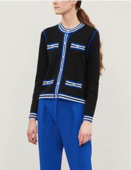 Striped Trim Wool Cardigan by Claudie Pierlot