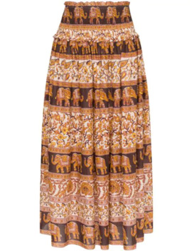 Suraya Smocked Elephant Print Skirt by Zimmermann