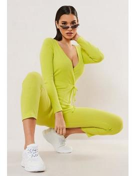 Petite Lime Ribbed V Neck Tie Waist Jumpsuit by Missguided