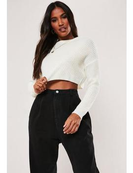 Tall White Super Cropped Basic Knitted Jumper by Missguided