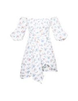 Petite White Floral Print Bardot Tie Front Wrap Mini Dress  by Prettylittlething