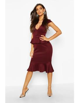 Belted Peplum Midi Dress by Boohoo