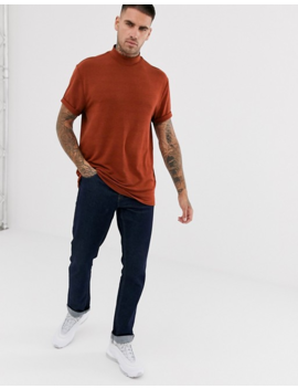 Asos Design – Lockeres T Shirt Mit Stehkragen Und Rollärmeln In Strukturiertem Noppendesign In Bronze by Asos