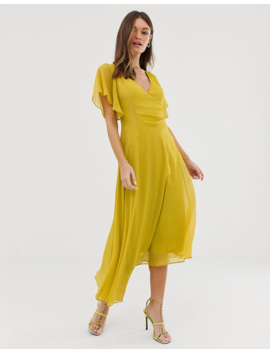Asos Design Wrap Front Midi Dress With Fluted Sleeve Detail by Asos Design