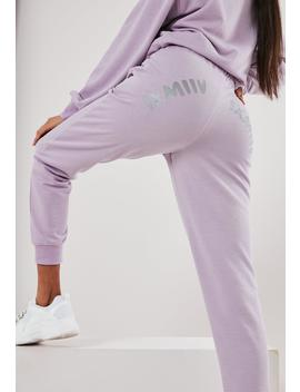 Lilac Graphic Back Slim Leg Joggers by Missguided