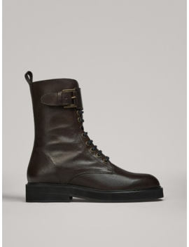 Flat Lace Up Ankle Boots With Buckle by Massimo Dutti