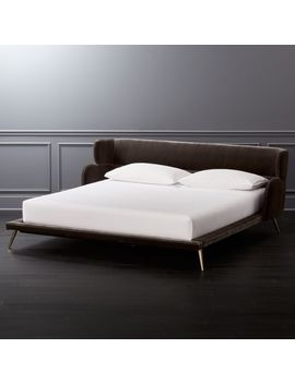 Lunar Velvet King Bed by Crate&Barrel
