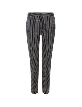 Printed Compact Cotton Trousers by Oasis