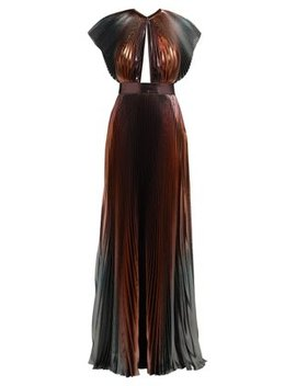 Metallic Pleated Silk Blend Gown by Givenchy