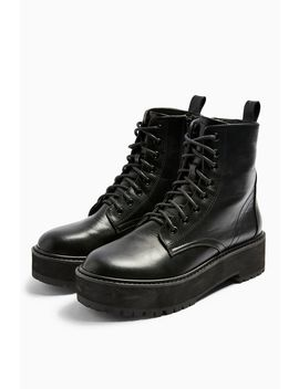Oslo Black Chunky Lace Up Boots by Topshop